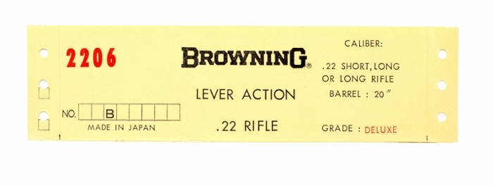 Browning BLR  22 Short, Long, Long Rifle  Deluxe Grade  Box Label  New  Original