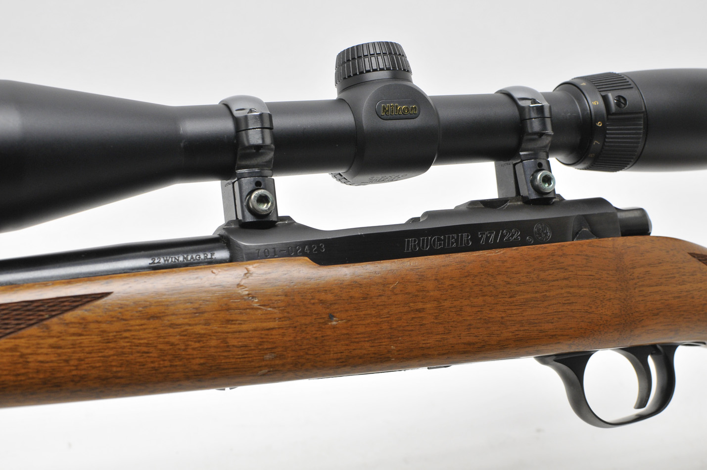ruger 77 22 22 mag with nikon buckmaster scope very fine