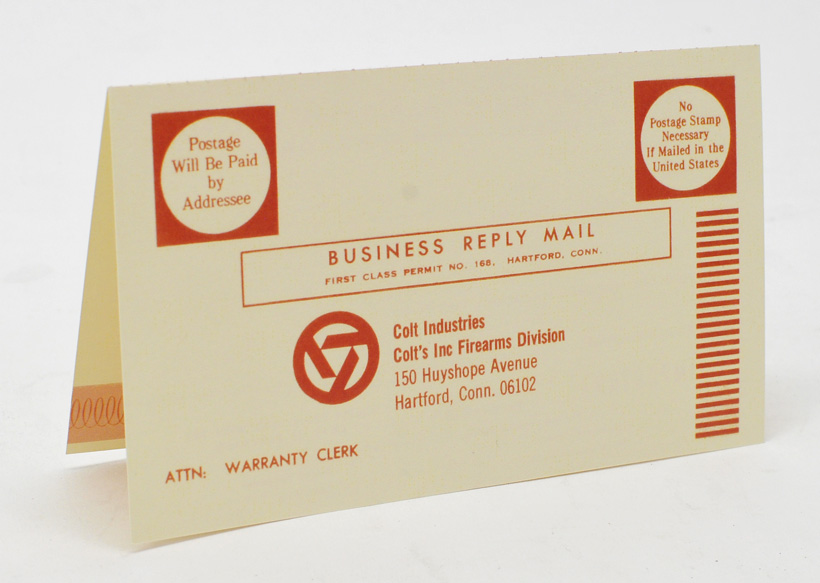 colt warranty card