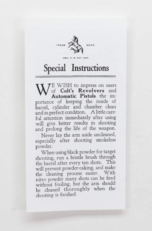 Colt Special Instructions Manual