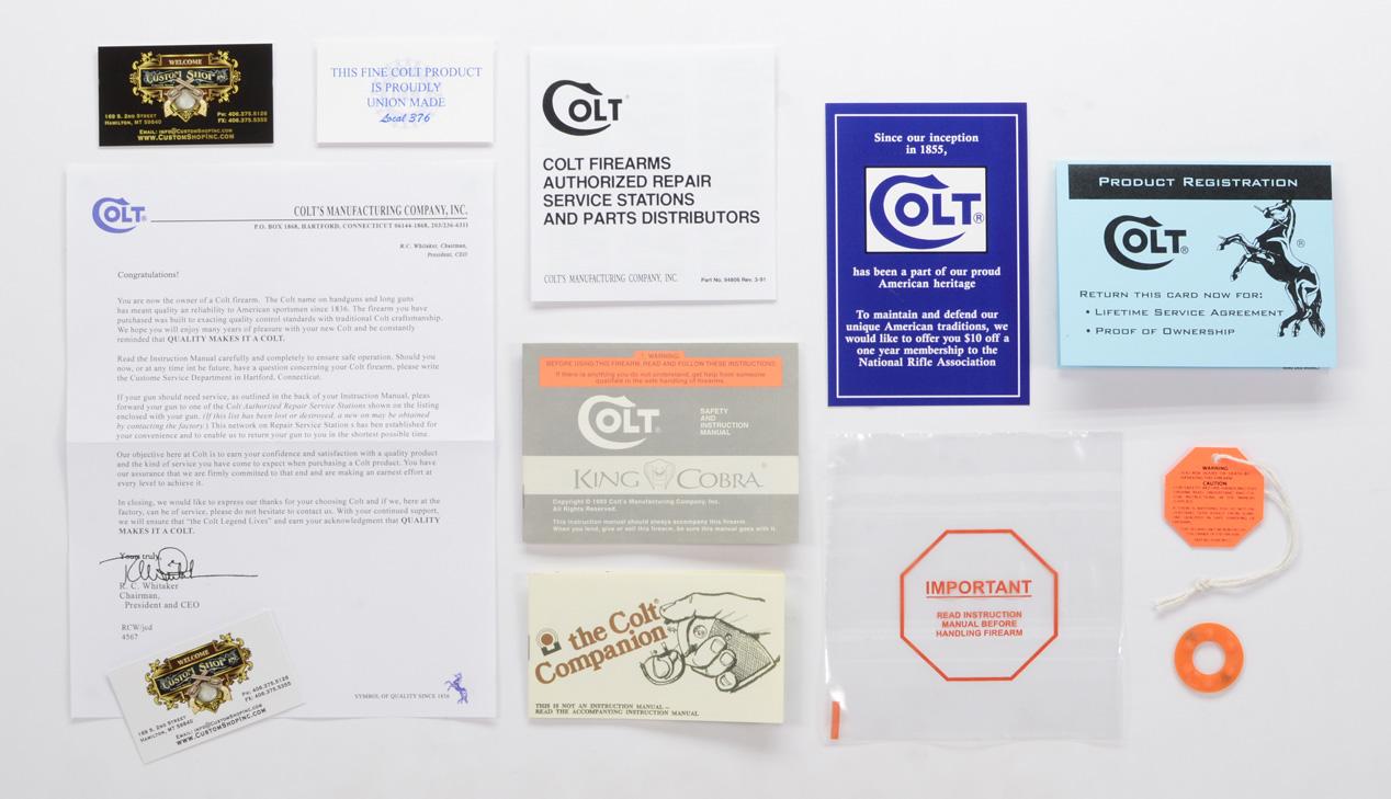 Colt King Cobra 1993 paperwork Packet