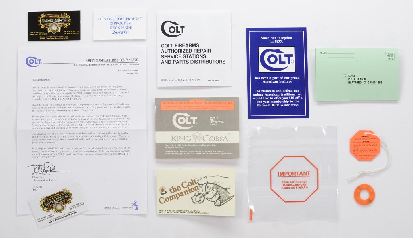 colt king cobra 1990 paperwork package