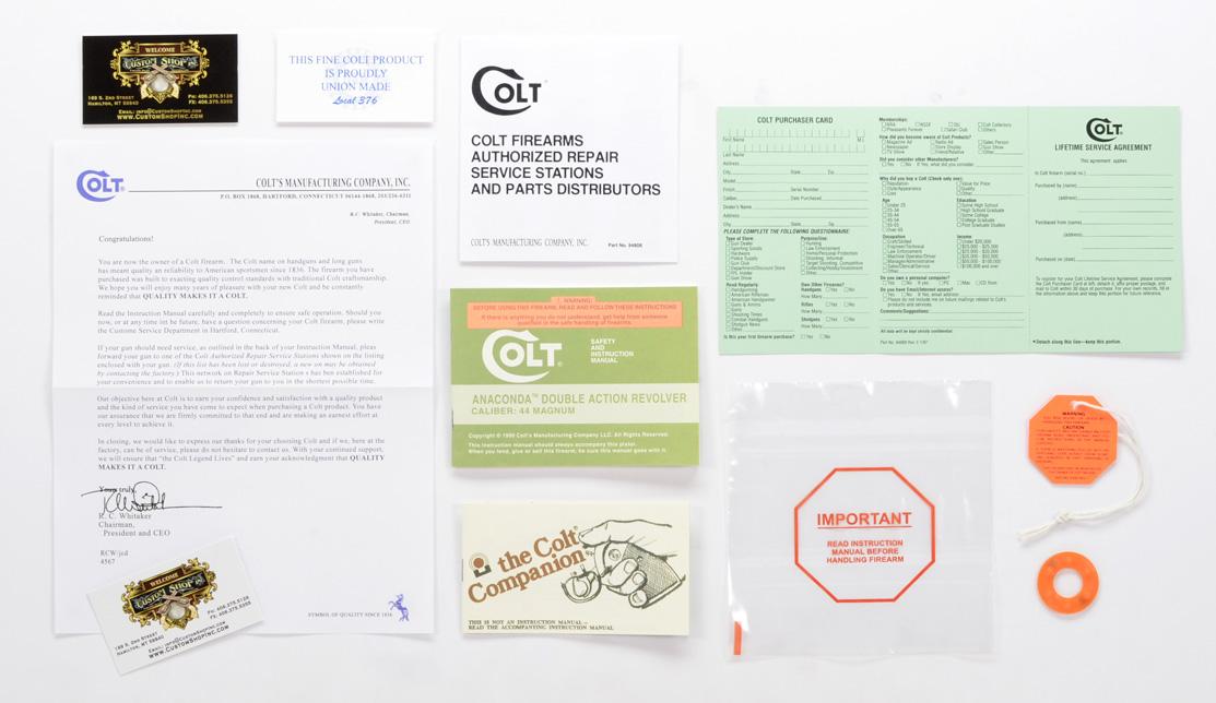 colt anaconda 1990 paperwork package