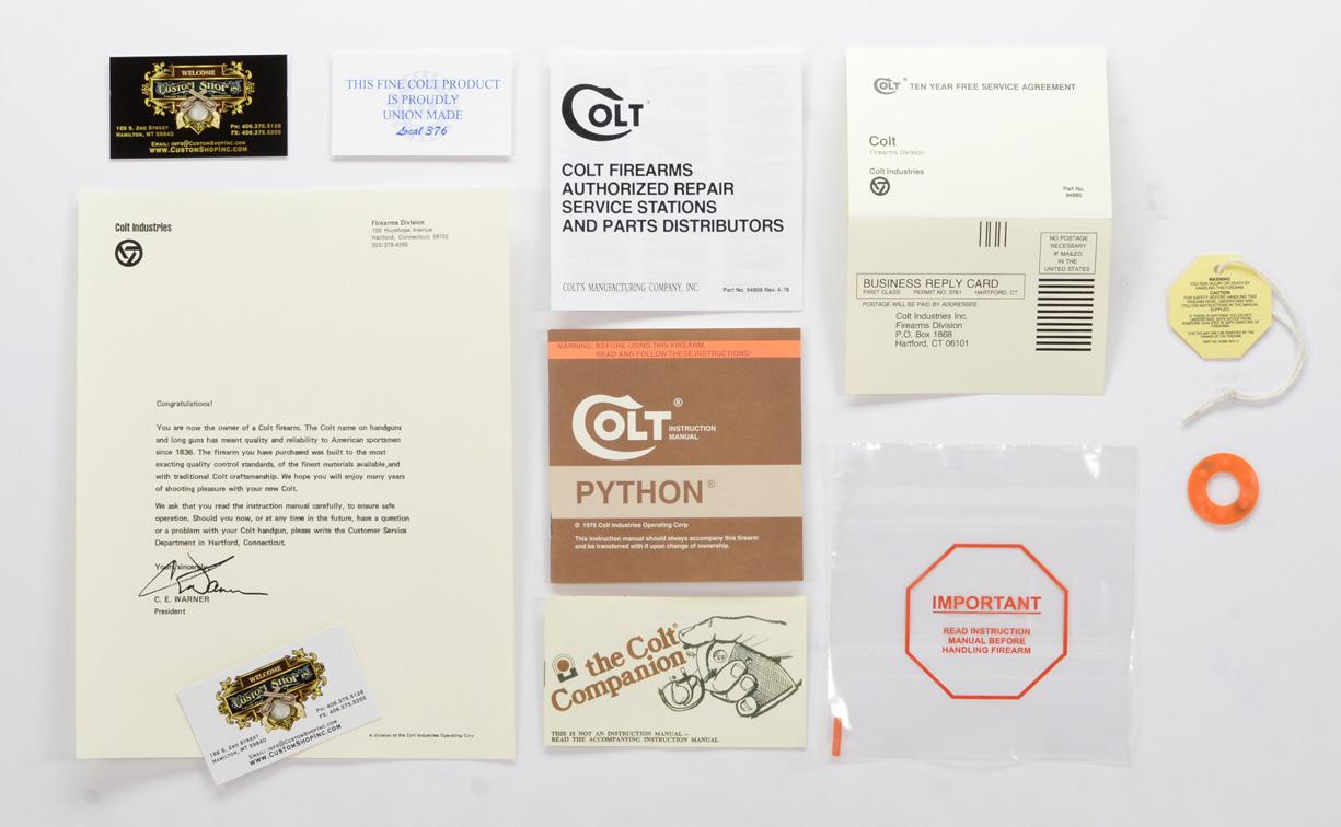 colt 1978 python paperwork package