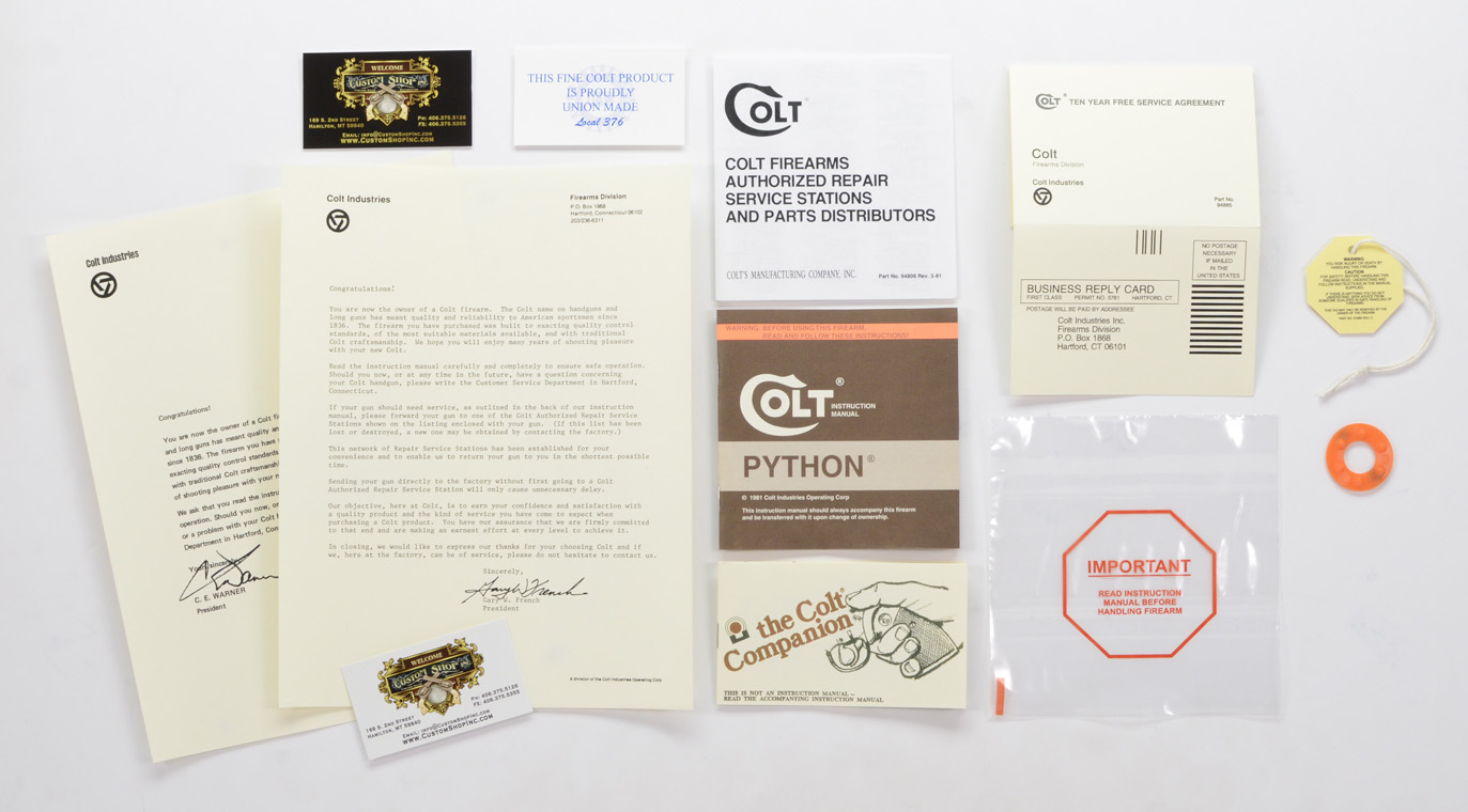 colt python 1981 paperwork package