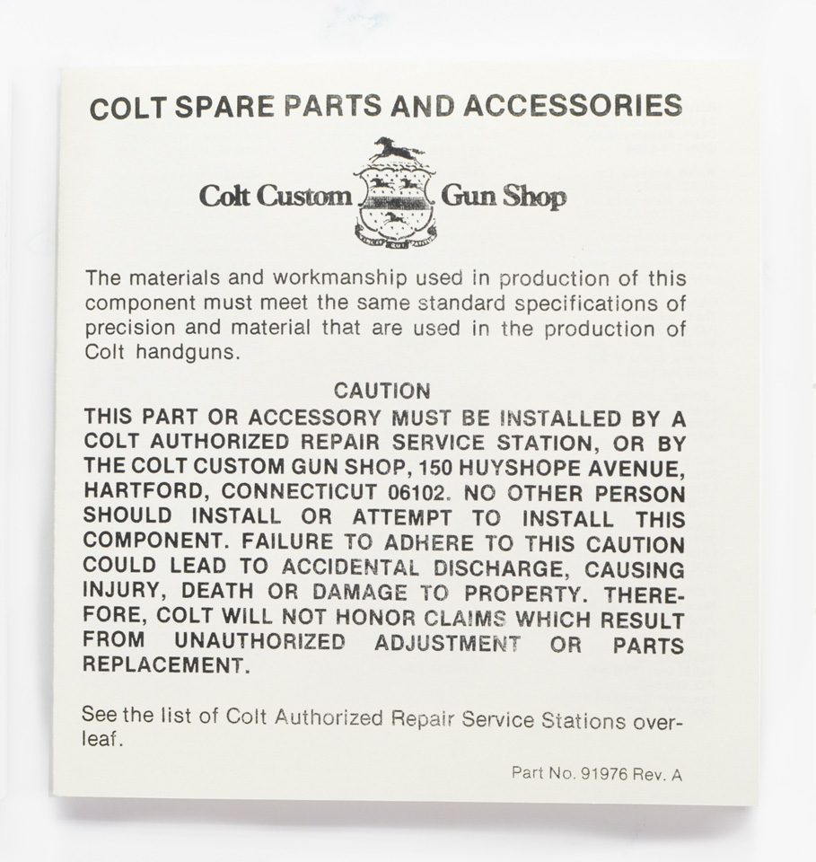 Colt Spare Parts And Accessories List