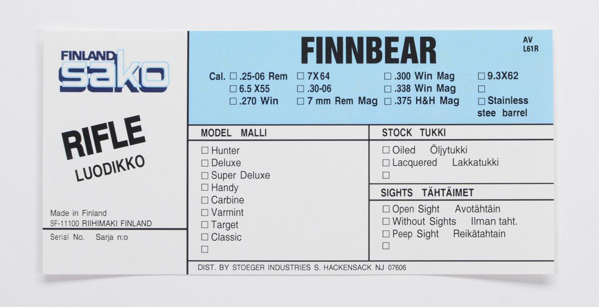 Sako Finnbear L61R Stoeger Import Box Label