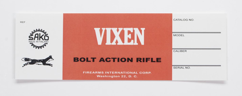 Sako Vixen Firearms International Box Label