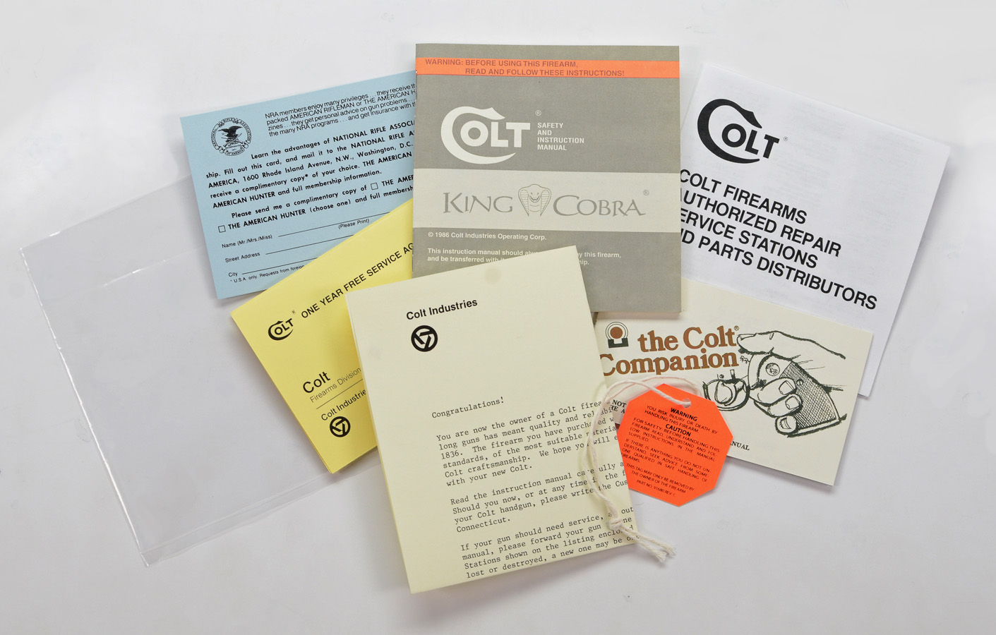 Colt Whitetailer 1986 to 1988 Paperwork Packet